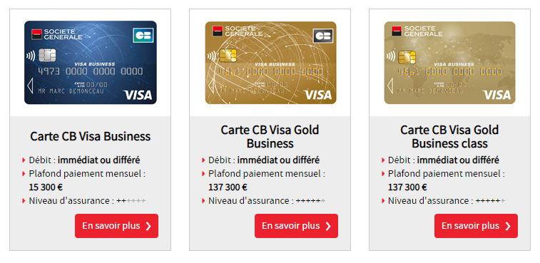 Société Générale Pro offre compte pro cartes
